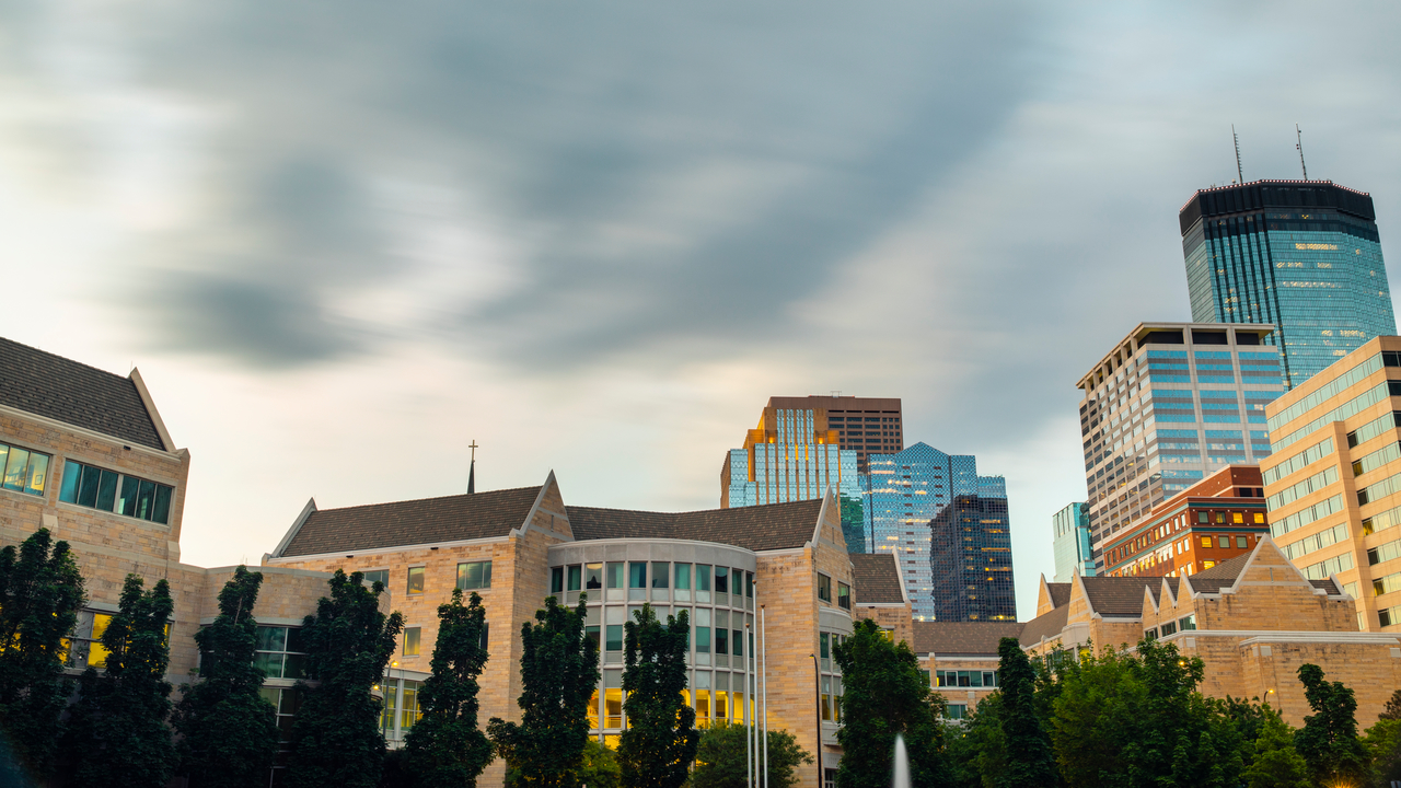 A view of the Minneapolis skyline from our downtown campus.