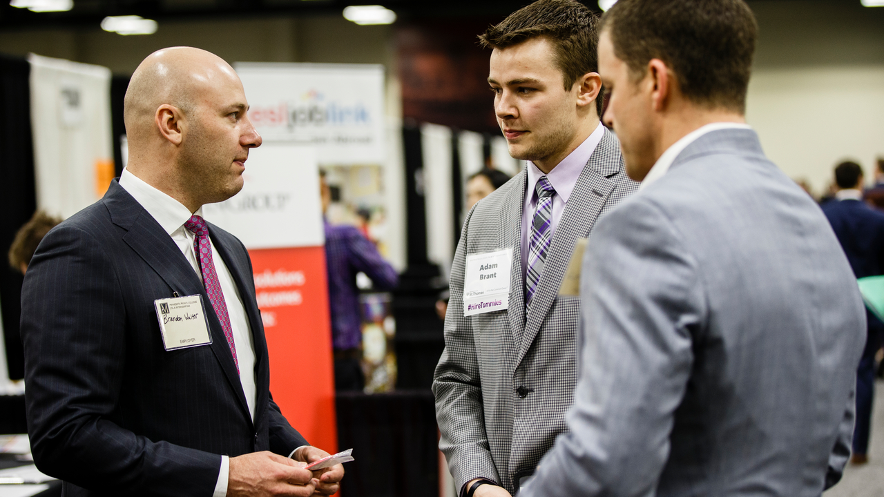 Students talk to recruiters about jobs at the annual Minnesota Private College Job Fair