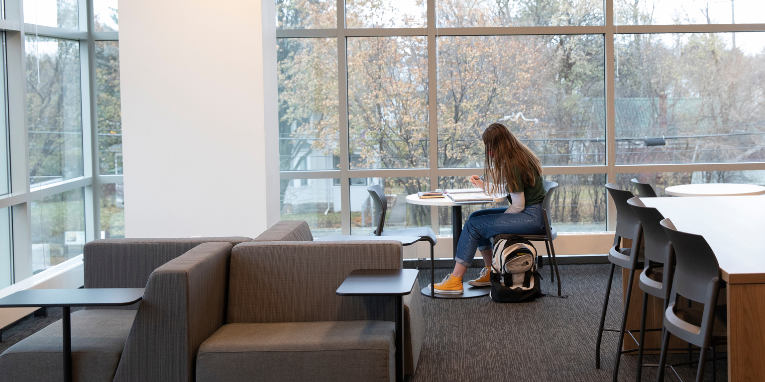 Student studying alone in in Tommie North