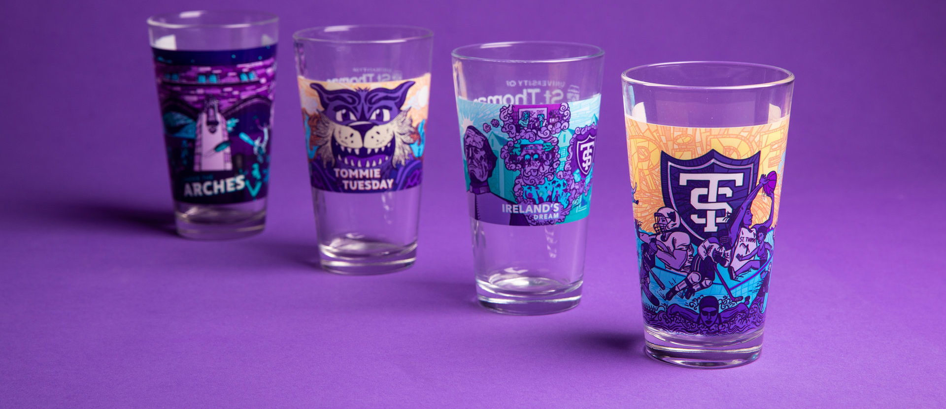four sustainer glasses in chronological order