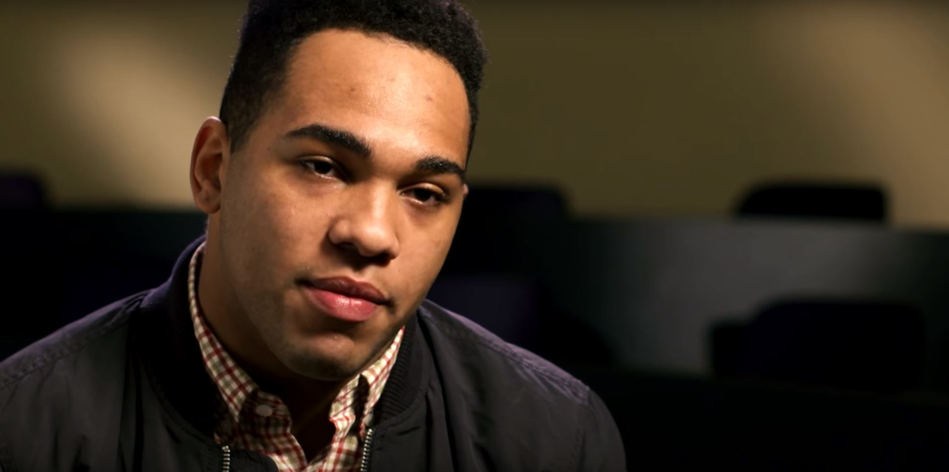 student tobias knight speaks during an interview