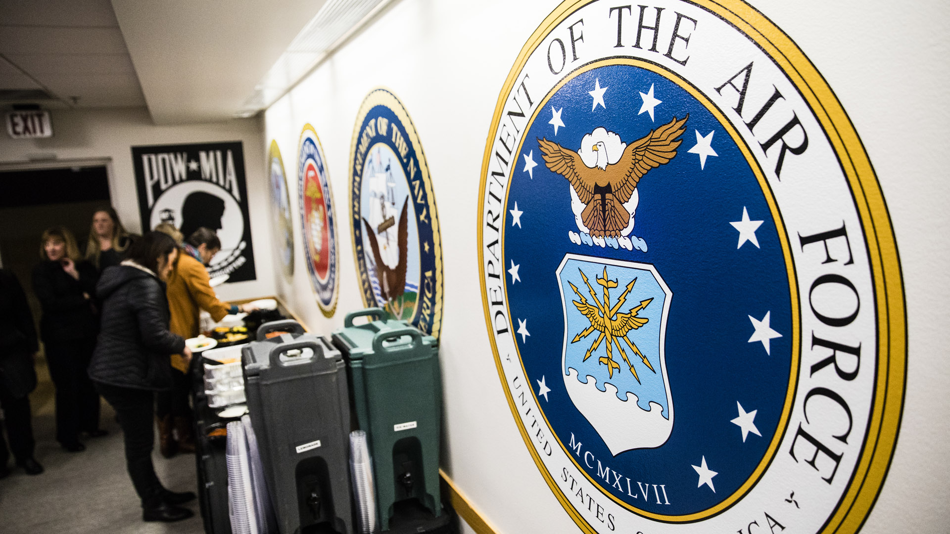 The Air Force crest in the Veterans Resource Center.