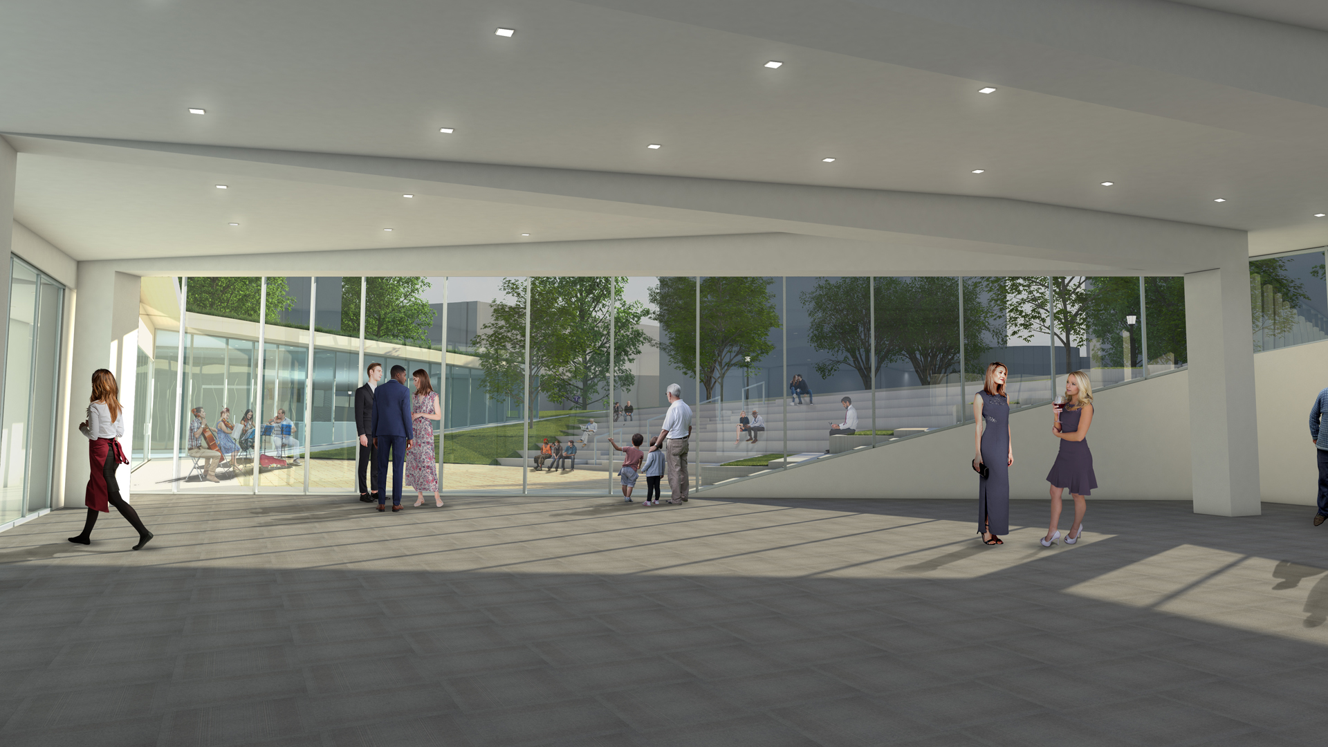 Rendering of the hallway in the Iversen Center for Faith