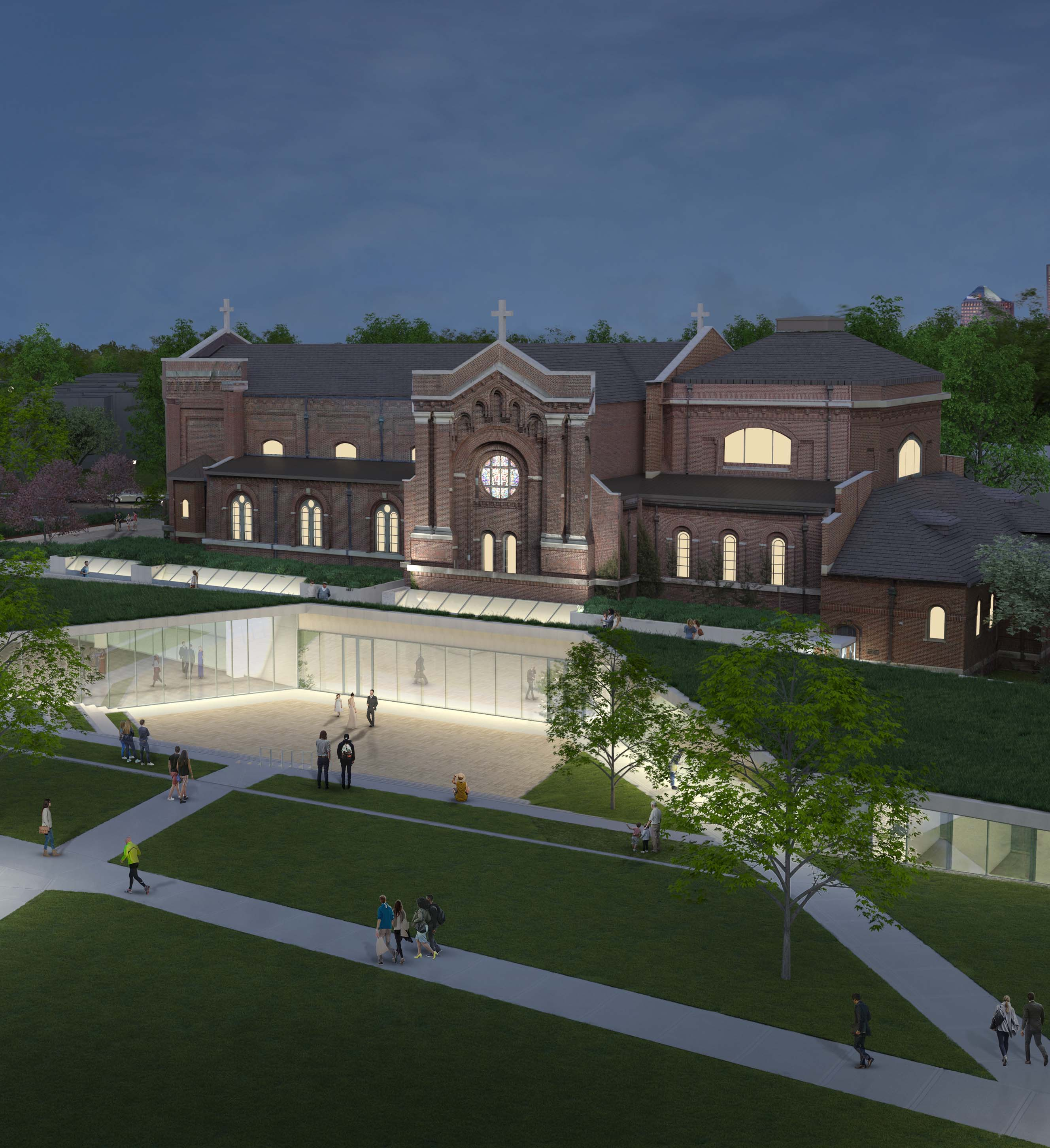 A rendering of the chapel renovation as seen from center of north campus